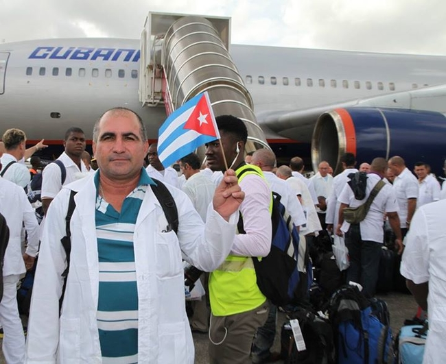 Cuban medics on their way to West Africa during the Ebola outbreak in 2014