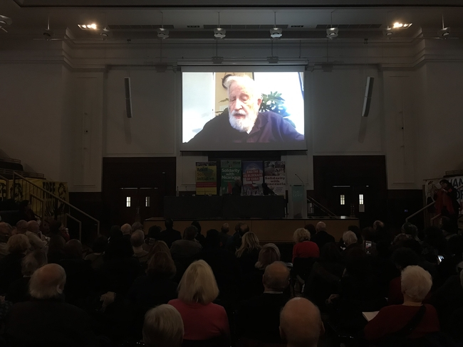Chomsky in conversation with Victoria Brittain via video link at Latin America Conference 2019