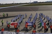 The Cuban medical brigade's arrival in Turin. Photo: Heidy Villuendas