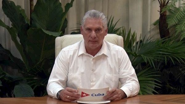 Cuban President Diaz-Canel speaking on national television to announce the news