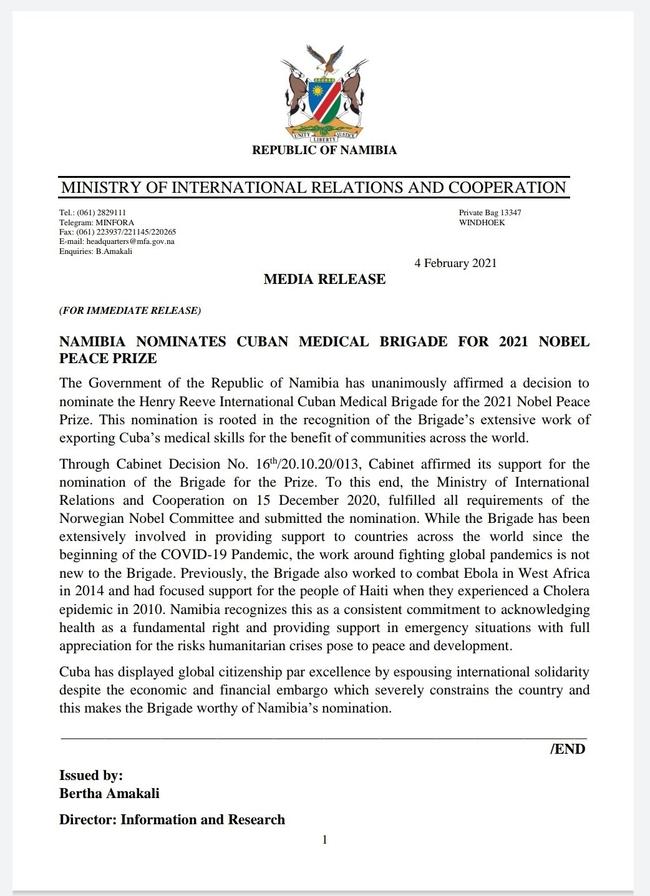 Namibia's press statement