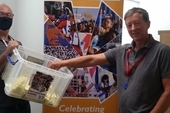 CSC director Rob Miller with special guest to draw the raffle, Peter Kavanagh, Unite London & Eastern Regional Secretary