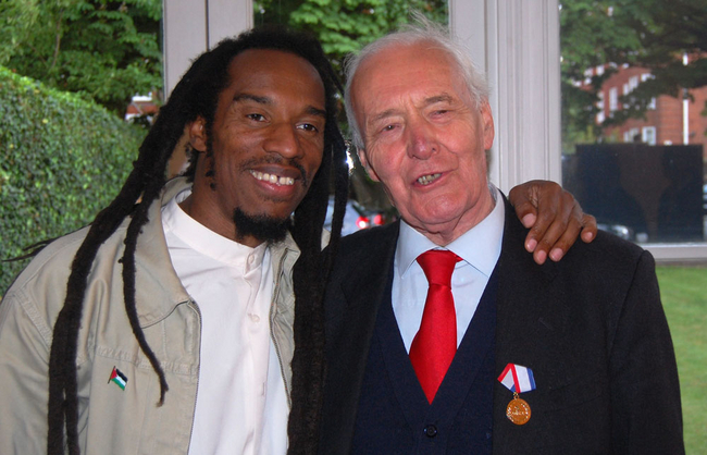 Benjamin Zephaniah with Tony Benn