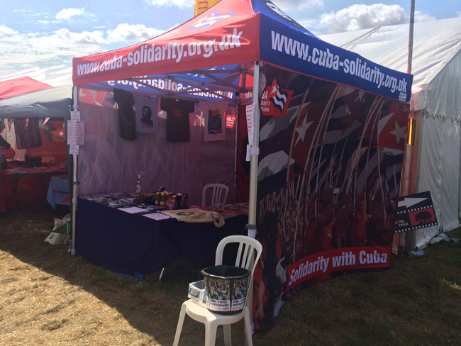 The Cuba Solidarity Campaign stand providing information about Cuba and the campaign at the Tolpuddle Festival