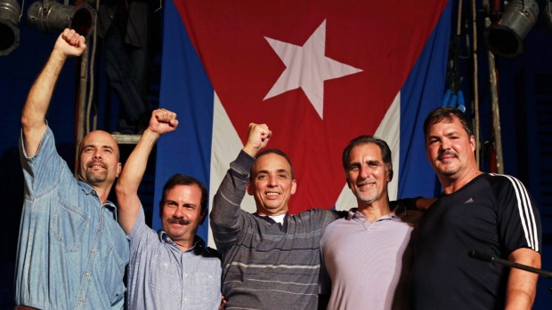 The Miami Five back home in Havana shortly after the final three were released in December 2014
